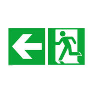 Emergency exit left with directional arrow left