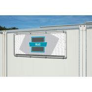 "Banner Frame Slot System Steel ""Wall"", hot dip galvanised incl. PVC Frontlit banner"
