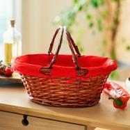 """Shopping Basket """"red / brown"""""""
