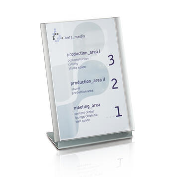 "Aluminium L-Display ""Ocean"", table-top display for use with door sign"