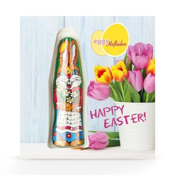 Card made of cardboard with bordered chocolate bunny, individually printed