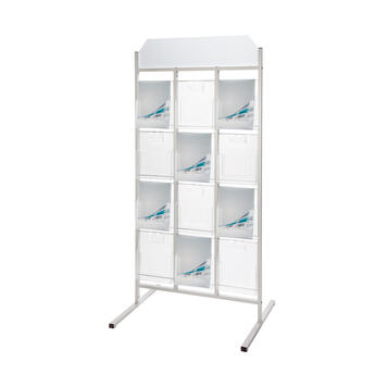 """12 Section Leaflet Stand """"Broker III"""" with Header"""
