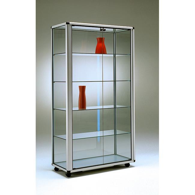 "Freestanding Showcase ""Neon"", 2 doors and wheels"