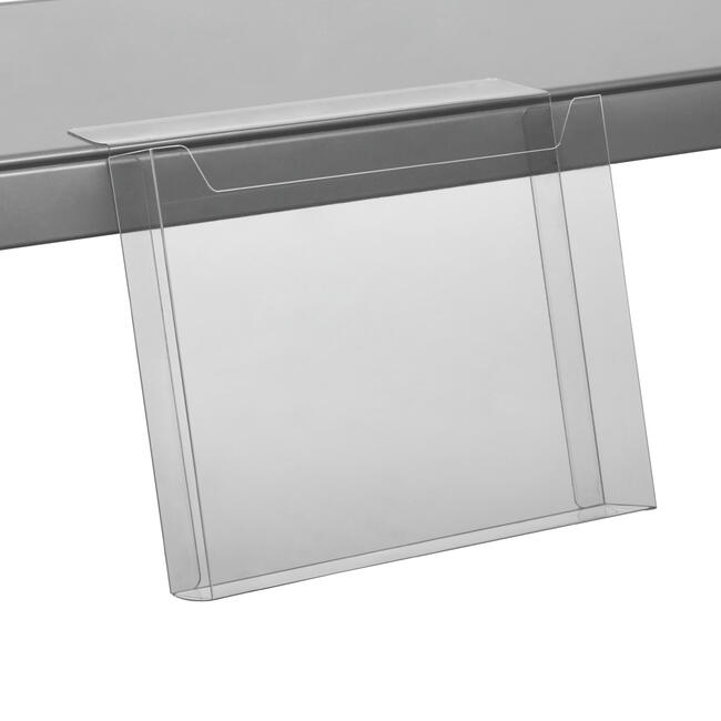 Shelf Edge Leaflet Holder - with adhesive tape, indent and high front