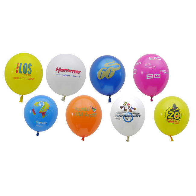 Balloons in bright colours, with print if desired