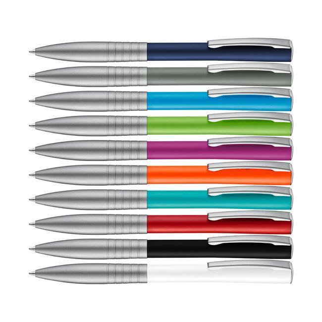 "Metal Push Button Ballpoint Pen ""Raise"" with coloured shaft"