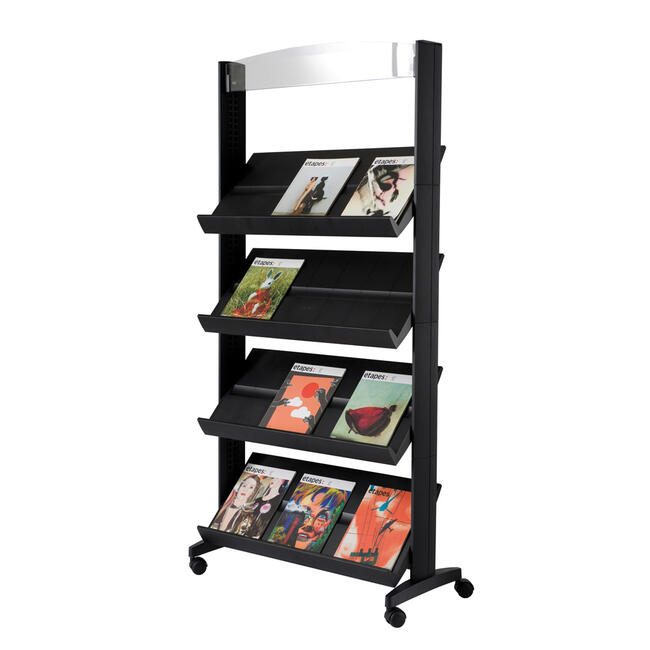 "A4 Mobile Leaflet Stand with Castors ""Tablo"" with adjustable shelves"