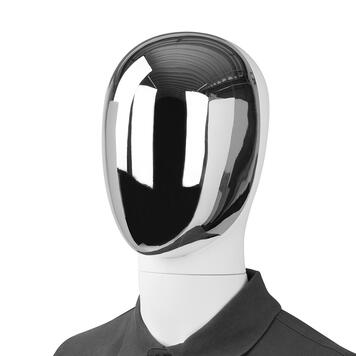 """Front of Head for Display Window Mannequin """"Magic"""", silver chrome"""